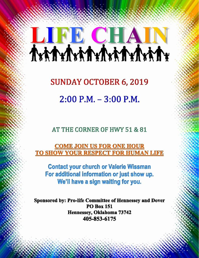 life chain in hennessey ok corner of 51 and 81 2pm - 3pm