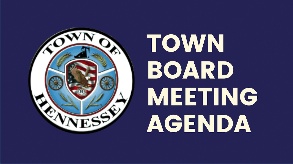 Town Board Meeting Agenda for Thursday, October 8, 2020