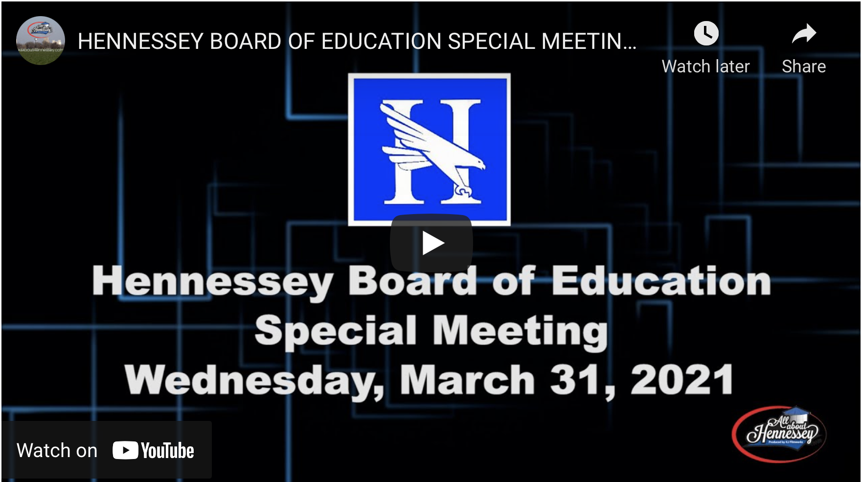 Hennessey Board of Education 3/31/21